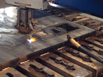 Plasma cutting of the sockets of the future matrix